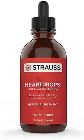 Strauss Heartdrops Herbal Heart Support Supplement with European Mistletoe, 3.4 fl oz, Original Flavor
