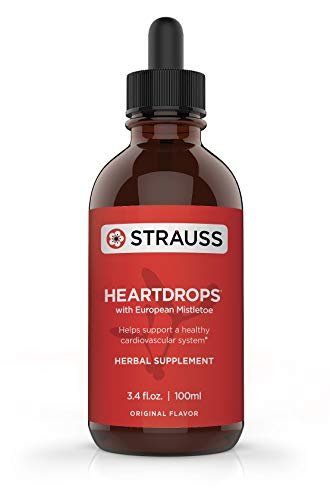 Strauss Heartdrops Herbal Heart Support Supplement with European Mistletoe, 3.4 fl oz, Original Flavor