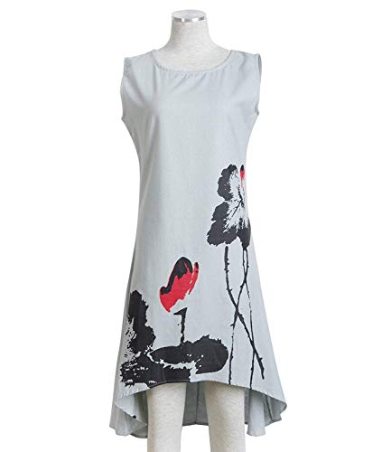 Kaured Elegant Cotton Linen Vintage Print Women Casual Loose ()