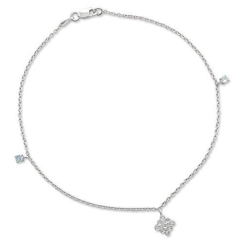Gioie Chaîne de Cheville Femme en Or 18 carats Blanc avec Diamant H/SI et Aigue-marine, Cm 23, 3 Grammes