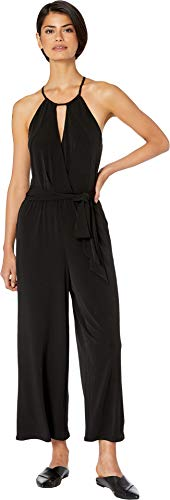 1.State Women's Halter Neckline Cross Front Knit Jumpsuit Rich Black X-Small