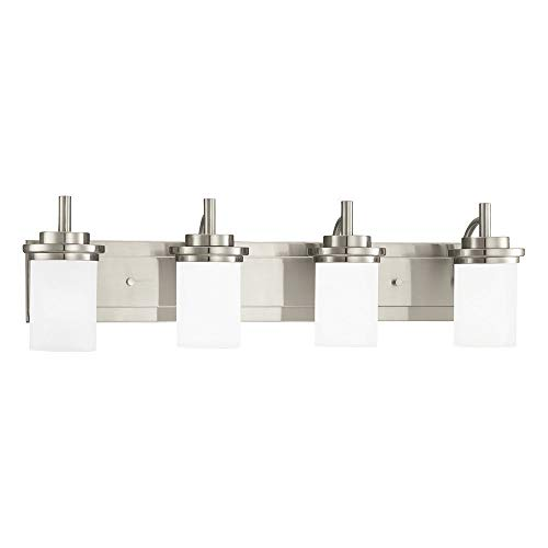 Sea Gull Lighting 44663-962 Winnetka Four-Light Bathroom Light Or Wall Light With Satin Etched Glass Shades, Brushed Nickel Finish (Renewed)