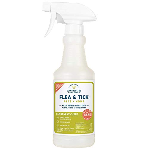 Wondercide Natural Flea, Tick and Mosquito Spray for Dogs, Cats, and Home - Flea and Tick Killer, Prevention, Treatment - 16 oz Lemongrass (Flea Tick And Mosquito Control For Dogs)