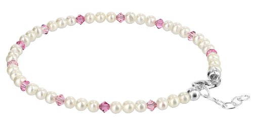 Gem Avenue Sterling Silver Swarovski Elements White Freshwater Pearl with Light Rose Crystal Ankle Bracelet 9 to 10 inch (Pure White Swarovski Pearls)