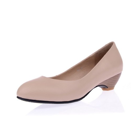 Fiber M Toe Solid Pumps Micro Soft Closed Material 4 Girls WeiPoot Cow B US Pointed 5 Heel Leather Low Nude UqwPt