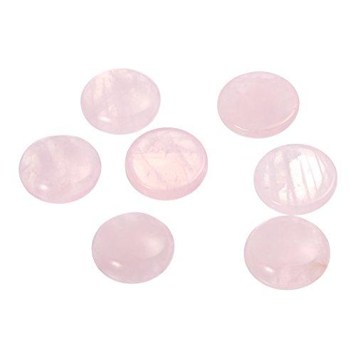 Linsoir Beads Rose Quartz Cabochon Stones Flat Back Gemstone Beads for Base Setting 20mm Pack of 20
