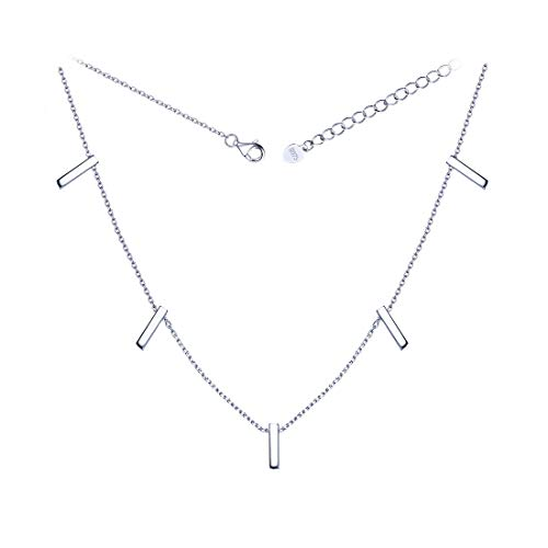 ChicSilver Womens 925 Sterling Silver Choker Necklace Simple Dainty Vertical Bar Pendant Necklace Boho Jewelry