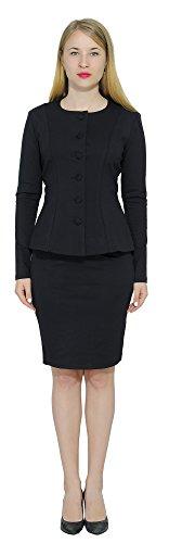 Marycrafts Women's Formal Office Business Work Skirt Suit Set 16 (Black Designer Suit)