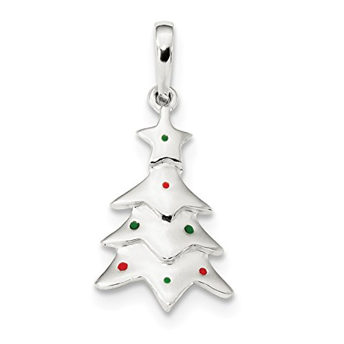 Jewelry Stores Network Sterling Silver Polished Enameled Christmas Tree Pendant 21x12mm
