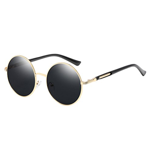 Con Mens amp;gray gafas Zhuhaitf Mirror Frames Design Oversized Polarized Gold for Sunglasses Fashionable de Unisex Round Womens estuche 66Tw4Uzq