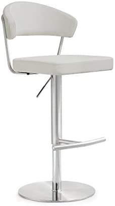 TOV Furniture The Cosmo Collection Modern Style Eco-Leather Upholstered Kitchen Dining Room Bar Area Steel Barstool