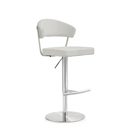 TOV Furniture The Cosmo Collection Modern Style Eco-Leather Upholstered Kitchen Dining Room Bar Area Steel Barstool with Back, Light Grey