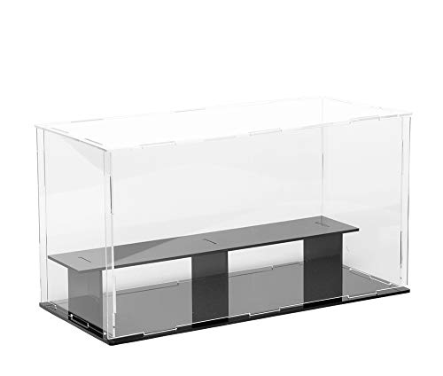 Lanscoe 2 Steps Clear Acrylic Display Case Countertop Box Cube Organizer Stand Dustproof Protection Showcase for Action Figures/Toys/Collectibles, 11x5x6 Inch (28x12x15cm)