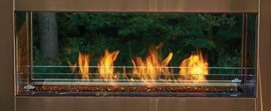 Napoleon GSS48ST See Thru Galaxy 48″ Outdoor Gas Fireplace with 55000 BTUs Topaz CRYSTALINE Ember Bed LED Light Strip Two Tempered Glass Wind Deflectors and Premium Stainless Steel