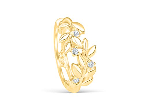 14K Real Solid Yellow Jewelry Cz 9.4mm Tree Natural Floral Flower Angel Laurel Leaf Round Circle Tragus Cartilage Snug Inner Outer Conch Daith Helix Ear Huggie Hoop Ring Piercing Earring For Women ()