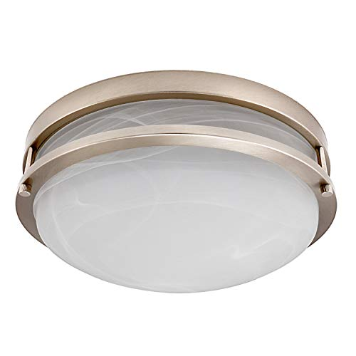TORCHSTAR 12.5-Inch Dimmable LED Flush Mount Ceiling Light, Alabaster Glass Cover, ETL-Listed, 1200lm, 3000K Warm White, Satin Nickel Finish for Living Room/Corridor/Hallway/Kitchen/Stairways