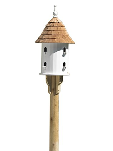 Lazy Hill Farm Designs 41401 Bird House White Solid Cellular Vinyl with Natural Redwood Shingle Roof, 16-Inch Wide by 28-Inch (Garden Design Birdhouse Post)
