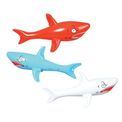1 DOZEN HUGE  Inflatable SHARKS / Birthday PARTY DECORATIONS