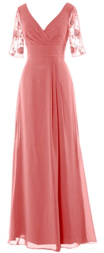 MACloth Women Half Sleeves V Neck Formal Gown Long Mother of the Bride Dress (6, Blush Pink) (Plus Size 90s Fancy Dress)