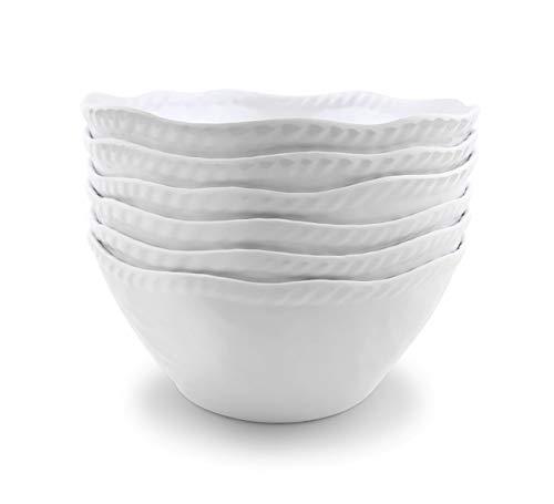 Melamine Cereal Bowls Set - 28 oz/6 inch 100% Melamine Soup/Salad Bowls | set of 6,White | Break-resistant and Dishwasher Safe,BPA ()