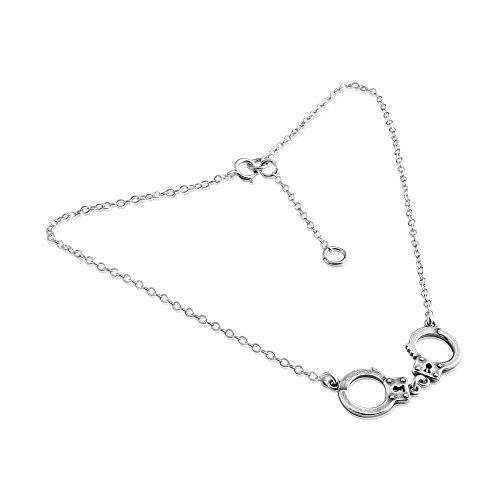 Azaggi Sterling Silver Handcrafted Handcuffs Anklet