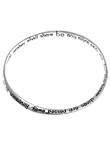 Artisan Owl Revelation 21:4 Bible Scripture Verse Mobius Bangle Bracelet