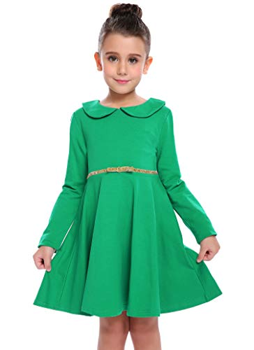Arshiner Girls Long Sleeve Doll Collar Dress Solid Color A Line Peter Pan Collar Cotton Dress, Green, 120(Age for 6-7 years)