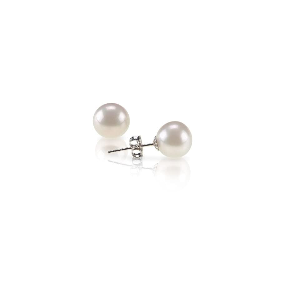 Handpicked AAA+ Sterling Silver Round Stud Freshwater Cultured Pearl Earrings