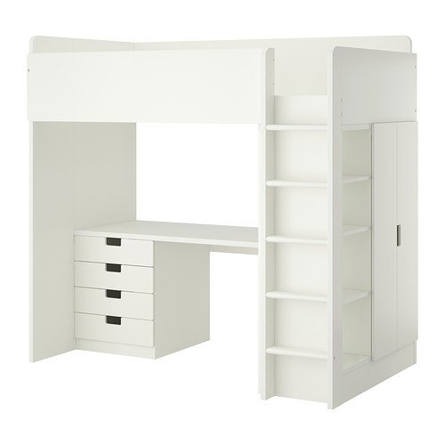 Ikea Twin Size Loft Bed with 4 Drawers/2 Doors, White 2382.8