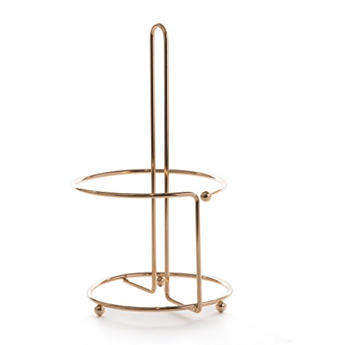 Gold Paper Towel Holder (BINO 'Apollo' Paper Towel Holder, Gold - Free Standing Decorative Easy Tear Kitchen Paper Towel Roll Dispenser)