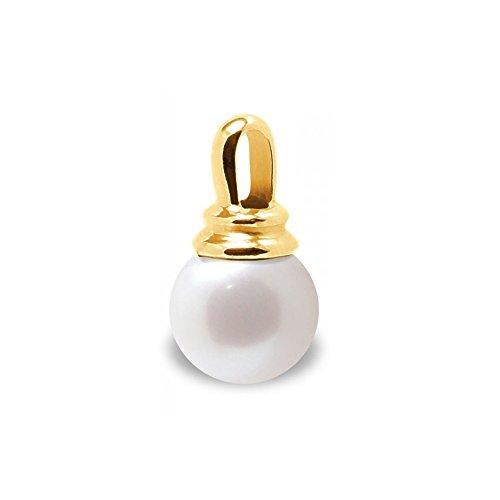 Pendentif Perle de Culture d'eau douce Blanche et Or Jaune 375/1000 -Blue Pearls-BPS K269 W