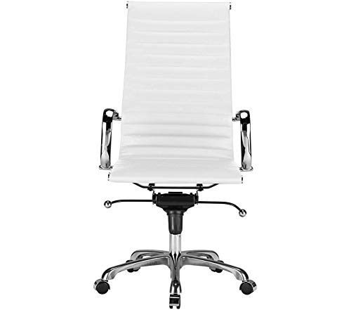 Premium Ribbed High Back Office Chair, White