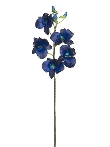 Dendrobium Orchid Artificial Flower Spray in Navy Blue - 29.5
