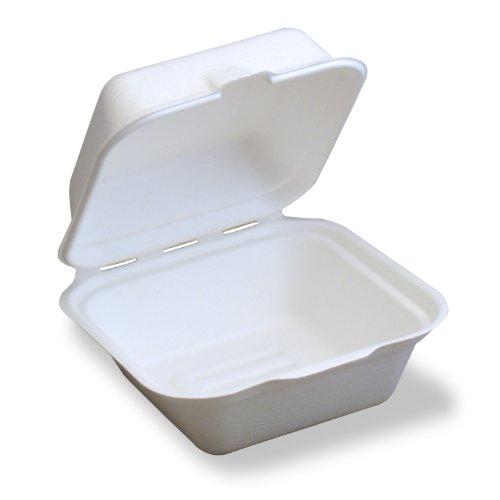 250 Ct Box (Stalkmarket 100% Compostable Sugar Cane Fiber Hinged Container, Hamburger Box, 250-Count Case)