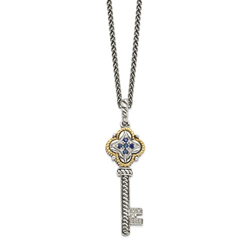 ICE CARATS 925 Sterling Silver 14kt Sapphire Diamond Key Chain Necklace Pendant Charm Gemstone Fine Jewelry Ideal Gifts For Women Gift Set From Heart ()