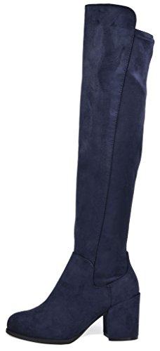 TOETOS Frauen Prade-High Overknee-Blockabsatz Stiefel Dunkelblau-01