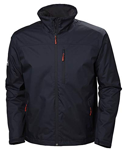 Helly Hansen Men's Crew Midlayer Fleece Lined Waterproof Windproof Breathable Rain Coat Jacket, 597 Navy, Large