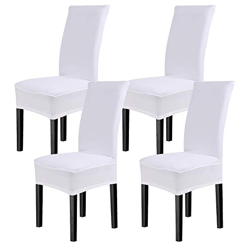 CosyVie Super Fit Universal Stretch Dining Chair Covers, Removable Washable Slipcovers for Dining Room Chairs 4 Pcs/Pack (White)