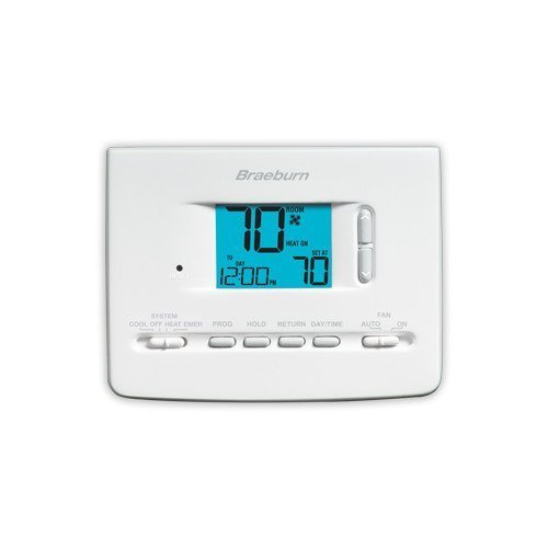 Braeburn 2220NC Thermostat, Builder Series 5-2 Day Programmable, Up to 2 Heat/1 Cool Conventional or Heat Pump w/Large Display by Braeburn