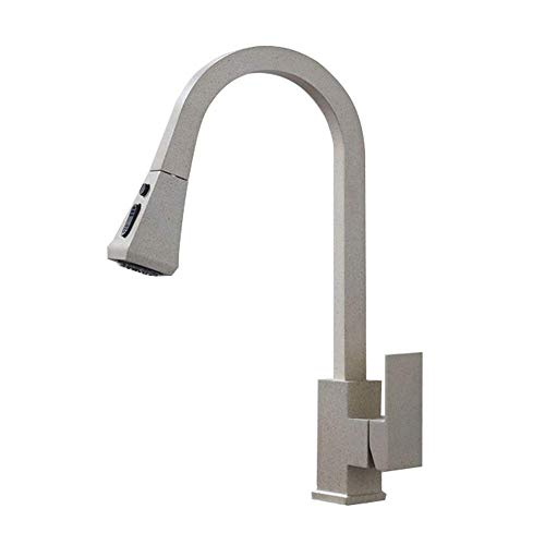 - Matt Black Kitchen Faucet Pull Out Kitchen Sink Mixer Tap with Pull Out Dual Flush Brass Shower Single Lever Mixer Sink Tap 360 ° Rotatable, Beige