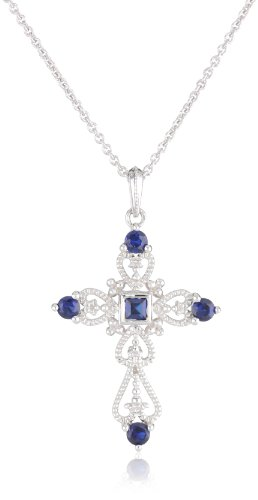Sterling Silver Created Ceylon Sapphire Cross Pendant Necklace, 18