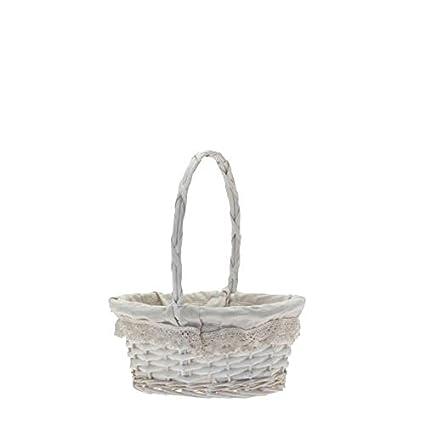 Wicker Bridesmaid Flower Girl Confetti Petal Basket Oval Lace