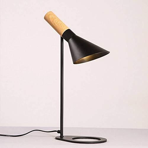 JFHGNJ lámpara de Mesa Moderna Madera Negro Metal sobremesa ...