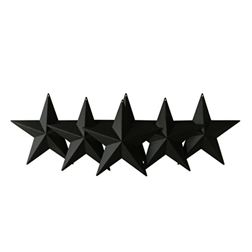 CVHOMEDECO. Country Rustic Antique Vintage Gifts Metal Barn Star Wall/Door Decor, 5-1/2 Inch, Set of 6. (Matt Black) ()