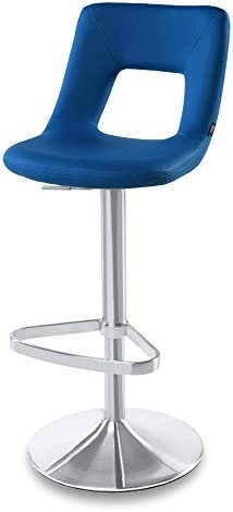 Zuri Furniture Dark Blue Jazz Adjustable Height Swivel Armless Bar Stool