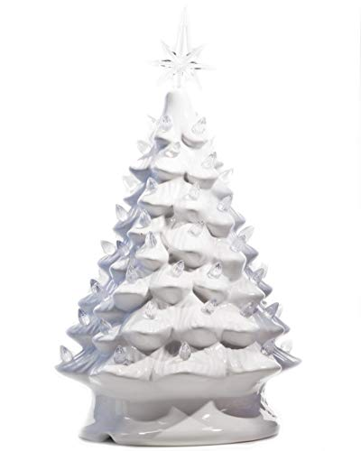 - ReLive Christmas is Forever Lighted Tabletop Ceramic Tree, 14.5-Inch White Tree with White Lights