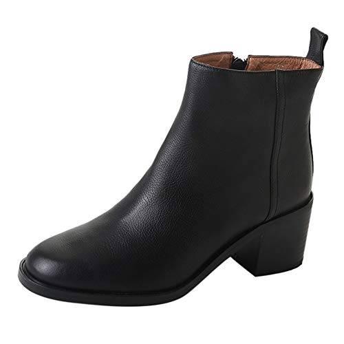 Peize Women Vintage Classic Chunky High Heels Short Boot Ladies Casual Solid Ankle zipper Shoes