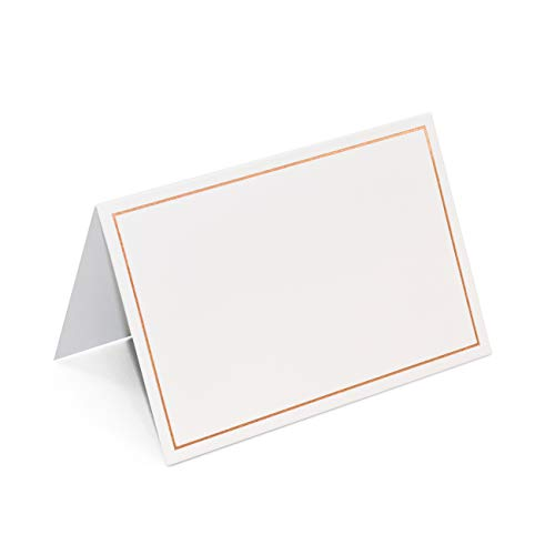 AZAZA 50 Pcs Place Cards with Rose Gold Foil Border - Table Tent Cards Seating Place Cards for Weddings Banquets Dinner Parties 2.5