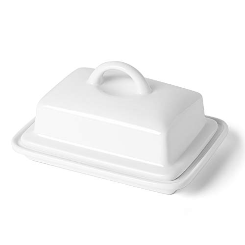 (Porcelain Butter Dish with Lid - Large Enough for 8oz European Butter and 2 Sticks of East/West Coast Butter, White - Better Butter & Beyond)