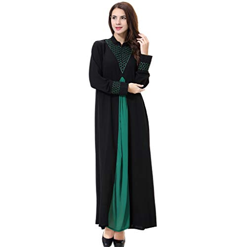 (Sunyastor Muslim Kaftan Dubai Long Sleeve Dress for Women Islamic Middle East Ethnic Clothing Abaya Gown Maxi Dress)